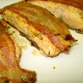Seared Salmon with bacon and balsamic honey and rosmary