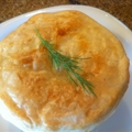 Shrimp, Leek and Andouille Pot Pie topped with Puff Pastry