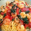 Shrimp pasta with basil and spinach