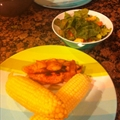 Simple sweet and spicy BBQ chicken with corn on the cob & summer salad