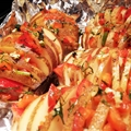 Sliced Baked Potatoes with Pepper and Garlic