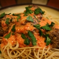 Spaghetti and Meatballs with Roasted Red Pepper Sauce