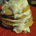 Spiced Pumpkin Pancakes with Honey Cream Cheese