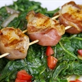 Suckin' Prosciutto-Wrapped Scallops With Spinach