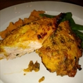 Tandori Roasted Chicken with Spicy Sweet Potato and Mint Raita
