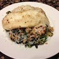 Tilapia with Chard Pesto Quinoa