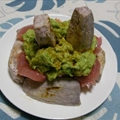 Tuna with Avocado And Wasabi Compote And Chinese Taro Potat