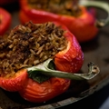 Vegetarian Stuffed Red Peppers With Red Wine Sauce