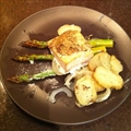 Wild Salmon with Rosemary Sweet Potatoes and Lemon Asparagus