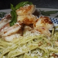 Zesty Shrimp with Walnut Pesto Linguini