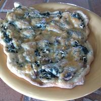 Alfredo-Spinach-Mushroom Pizza
