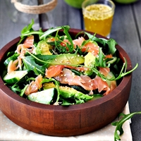 Arugula Salad With Smoked Salmon (lime sesame dressing)