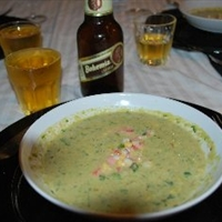 Avocado Soup, Corn and Tomato Garnish
