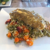 Baked Breaded Honey Mustard Chicken with Brown Rice and Veggies