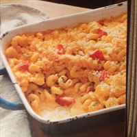Baked Mac'n Cheese with Scallions & Tomatoes