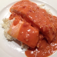 Baked Salmon With Coconut-Tomato Sauce and Creamy Jasmine Rice