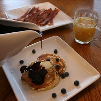 Banana Pancakes with Blueberry Maple Syrup