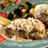 Basil-Rubbed Fresh Fish with Lobster Alfredo