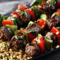 Beef Kabobs with Parmesan Orzo
