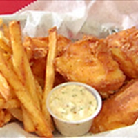 Beer Batter Fish and Spicy Chips with Lemon-Habanero Tartar Sauce and Serra