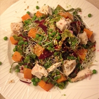 Beetroot, Sweet Potato, Chicken and Peas Salad