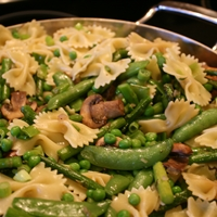 Bowtie Pasta with Asparagus, Shitakes and Spring Peas
