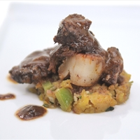 Braised Short Ribs with Seared Scallop on Mofongo Cake