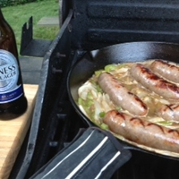 Bratwurst cooked in Beer, Butter and Onions