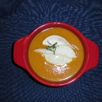 Butternut Squash and Pear Soup (With Cashew-Tarragon Ceam)