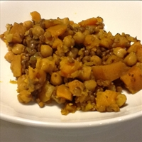 Butternut Squash, Garbonzo Beans, and Lentil Curry