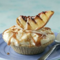 Caramel Frozen Yogurt Pie with Grilled Peaches
