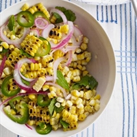 Charred Corn Salad with Mint, Parsley and Cilantro