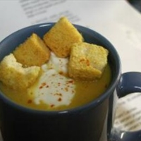 Cheese and Beer Soup with Garlic Croutons