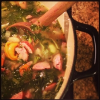 Cheese Tortellini Soup with Cannellini Beans, Kielbasa & Kale