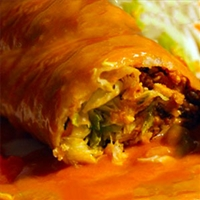 Cheesy Chicken Enchilada Style 'Wet' Burritos with Cilantro Rice