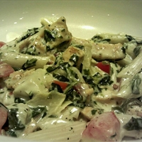 Chicken, Bacon, Spinach, Artichoke Pasta Delight