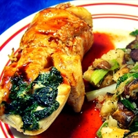 Chicken-Spinach Roulade with Blackberry-Ancho Sauce