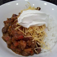 Chili with beans over rice