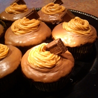 Chocolate Glazed Dark Chocolate Cupcakes  with Peanut Butter Cream filling