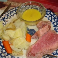 Corned Beef and Cabbage with a Mustard Sauce