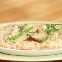 Creamy Dijon-terragone chicken with rice pilaf