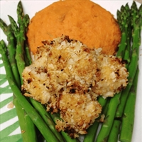 Crunchy Chicken Breast Bites with Sweet Potato Mash and Asparagus
