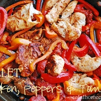 Skillet Chicken, Peppers, and Tomatoes