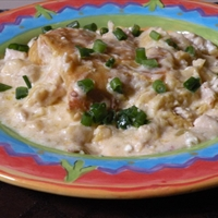 Delicious Sour Cream Chicken Enchilada Casserole