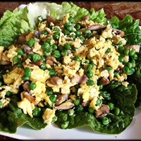 Eggs with mushroom & peas lettuce wrap from ZUZKA