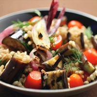 Farro Salad with Grilled Eggplant, Tomatoes and Onion
