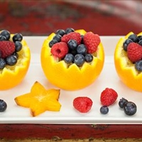 FRUIT SALAD IN ORANGE CUPS
