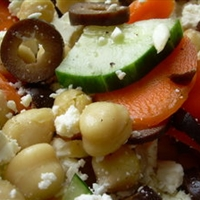 Garbanzo bean, Feta and Black Olive Salad