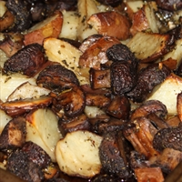Garlic and Rosemary Roasted Potatoes and Mushrooms