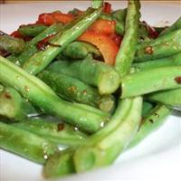 Garlicky Green Beans Sauted with Red Peppers